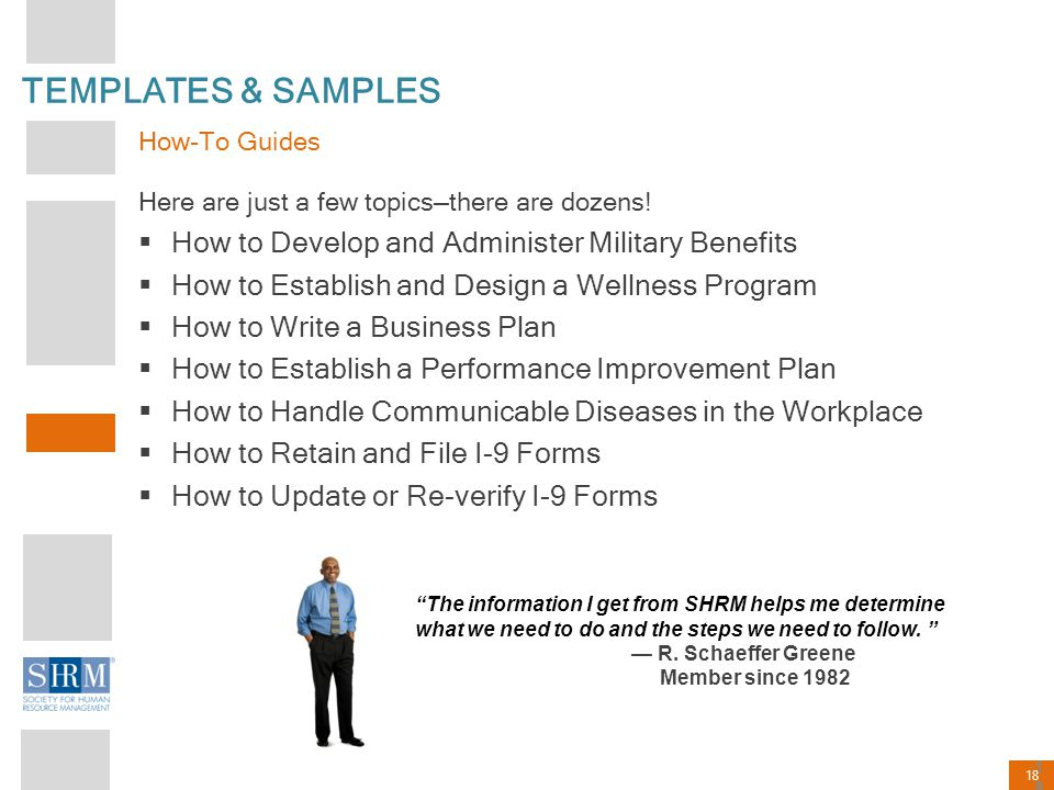18 Here are just a few topics—there are dozens!  How to Develop and Administer Military Benefits  How to Establish and Design a Wellness Program  H
