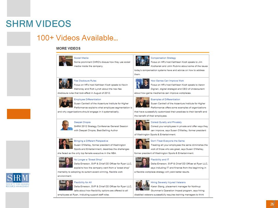 20 SHRM VIDEOS 100+ Videos Available… 20