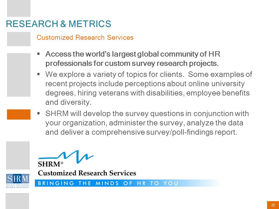 22 RESEARCH & METRICS  Access the world's largest global community of HR professionals for custom survey research projects.  We explore a variety of