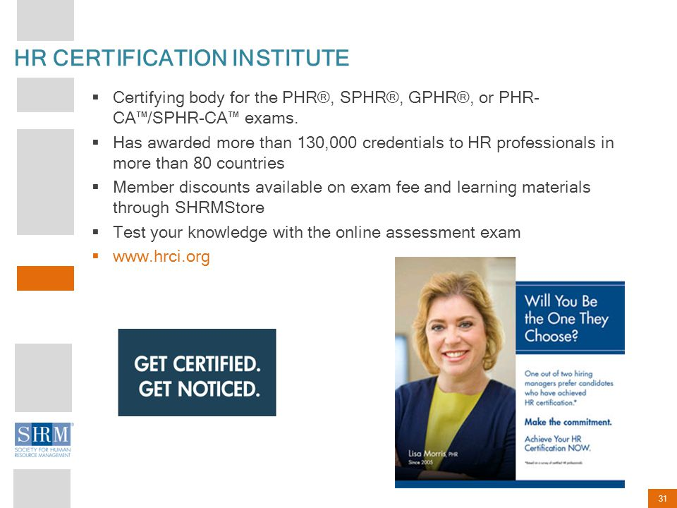 31 HR CERTIFICATION INSTITUTE  Certifying body for the PHR®, SPHR®, GPHR®, or PHR- CA™/SPHR-CA™ exams.  Has awarded more than 130,000 credentials to