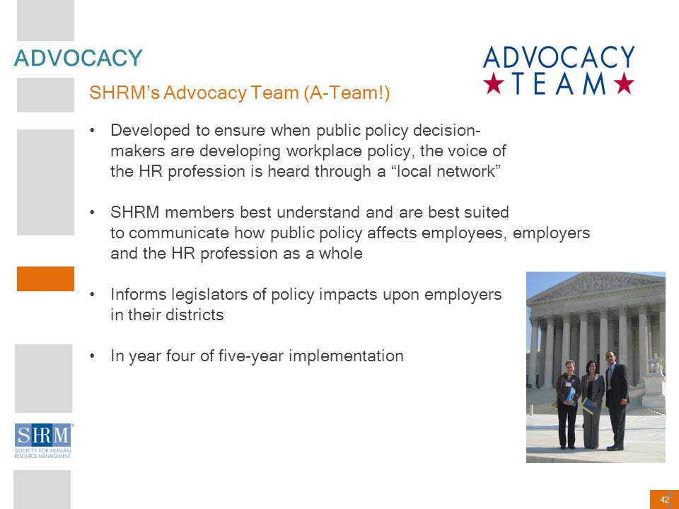 42 ADVOCACY SHRM's Advocacy Team (A-Team!) Developed to ensure when public policy decision- makers are developing workplace policy, the voice of the H