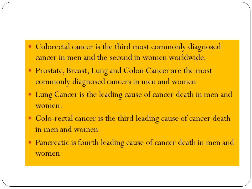 Colorectal cancer is the third most commonly diagnosed cancer in men and the second in women worldwide.