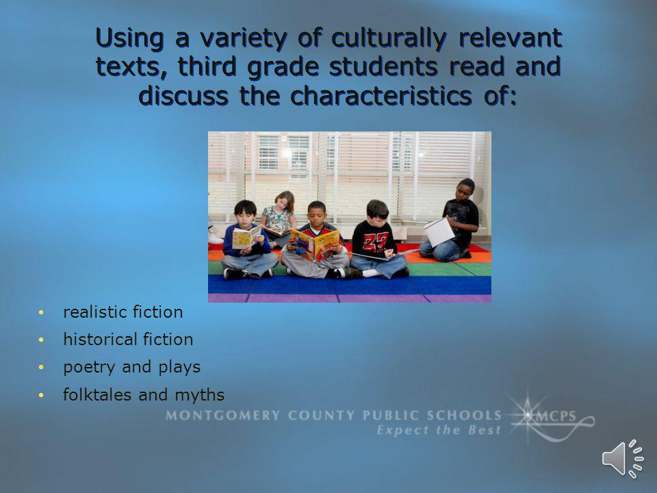 Using a variety of culturally relevant texts, third grade students read and discuss the characteristics of: realistic fiction historical fiction poetry and plays folktales and myths realistic fiction historical fiction poetry and plays folktales and myths