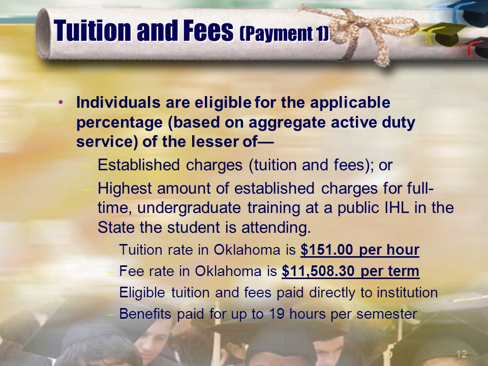 12 Tuition and Fees (Payment 1) Individuals are eligible for the applicable percentage (based on aggregate active duty service) of the lesser of—  Established charges (tuition and fees); or  Highest amount of established charges for full- time, undergraduate training at a public IHL in the State the student is attending.
