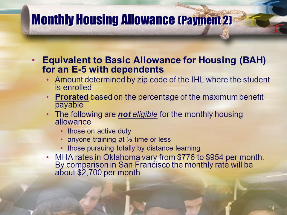 14 Monthly Housing Allowance (Payment 2) Equivalent to Basic Allowance for Housing (BAH) for an E-5 with dependents Amount determined by zip code of t