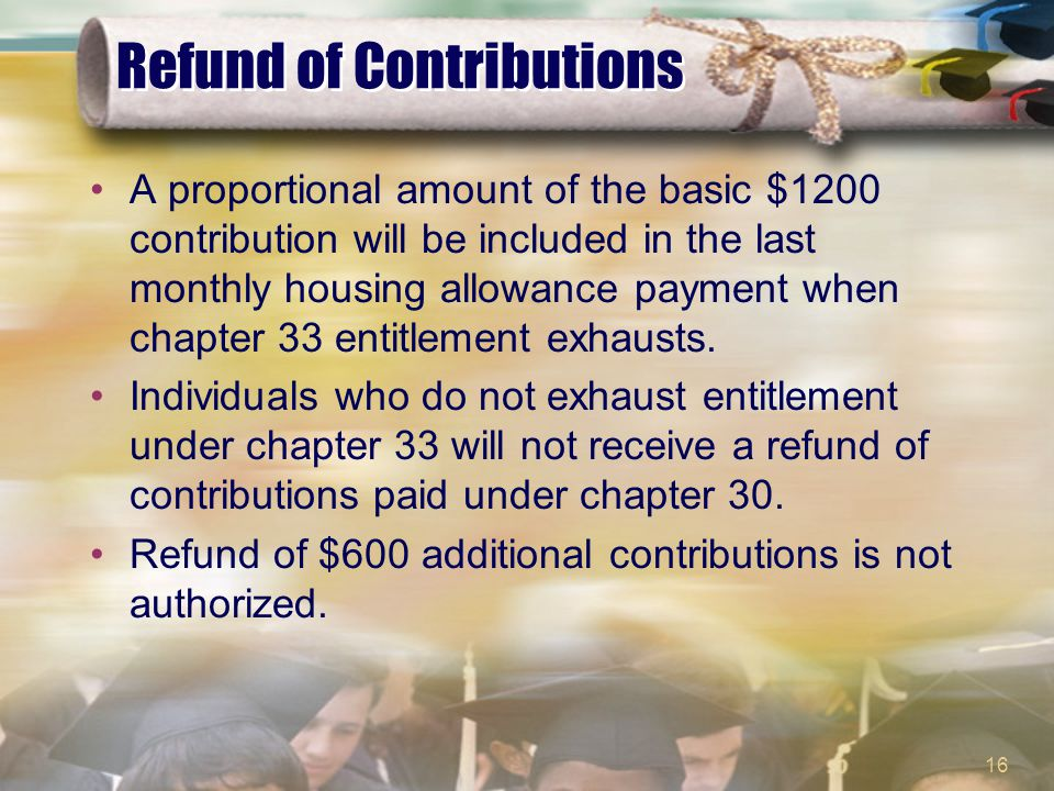 16 Refund of Contributions A proportional amount of the basic $1200 contribution will be included in the last monthly housing allowance payment when chapter 33 entitlement exhausts.