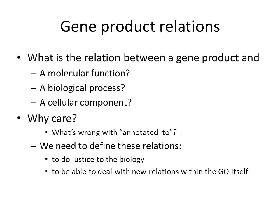 Gene product relations What is the relation between a gene product and – A molecular function.