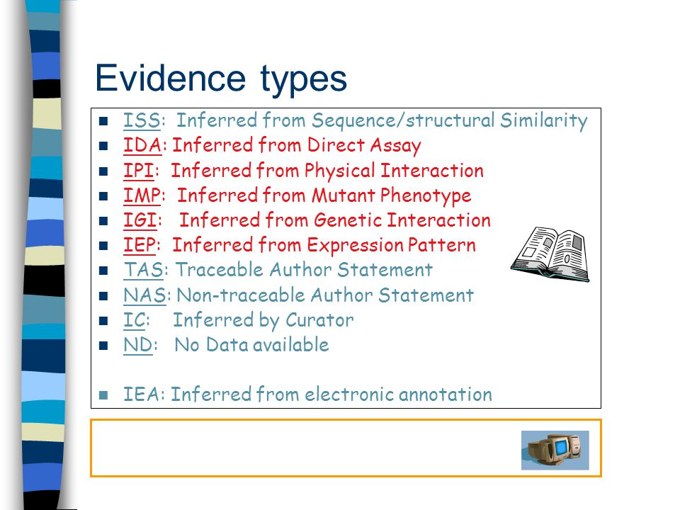 Evidence types ISS: Inferred from Sequence/structural Similarity IDA: Inferred from Direct Assay IPI: Inferred from Physical Interaction IMP: Inferred from Mutant Phenotype IGI: Inferred from Genetic Interaction IEP: Inferred from Expression Pattern TAS: Traceable Author Statement NAS: Non-traceable Author Statement IC: Inferred by Curator ND: No Data available IEA: Inferred from electronic annotation