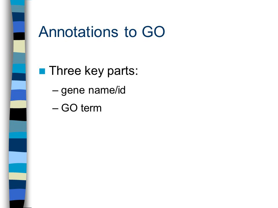 Annotations to GO Three key parts: –gene name/id –GO term(s) –evidence for association