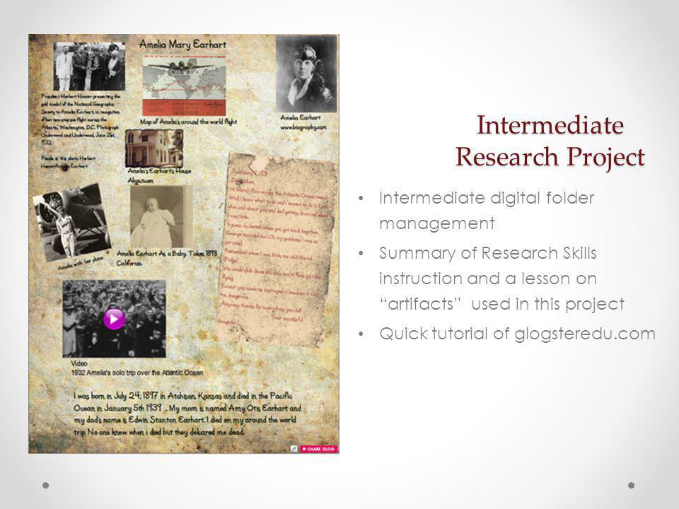 Open the Intermediate research folder Create your own project folder on the desktop (This will be where you save all the pieces of your project.) Open the note-taking template Choose a famous person (Students would choose a biography to read at their level.) We have selected two you can choose from if you want.