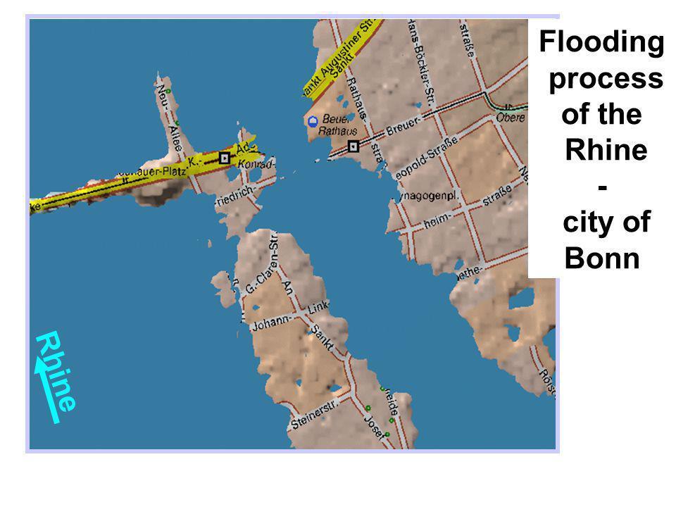 Flooding process of the Rhine - city of Bonn