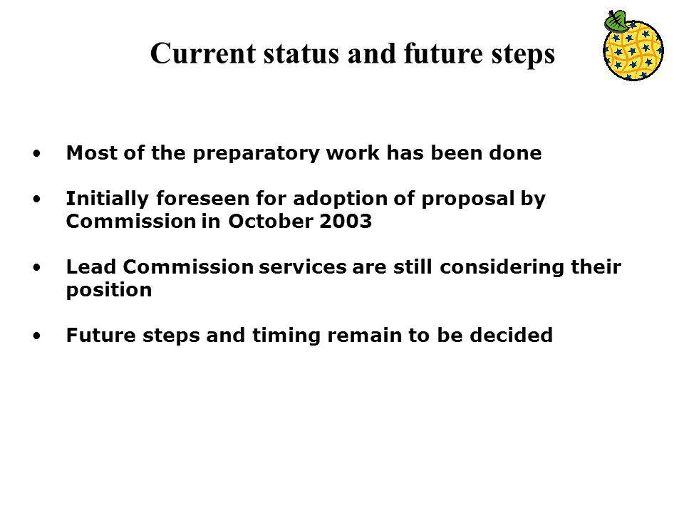 Current status and future steps Most of the preparatory work has been done Initially foreseen for adoption of proposal by Commission in October 2003 Lead Commission services are still considering their position Future steps and timing remain to be decided