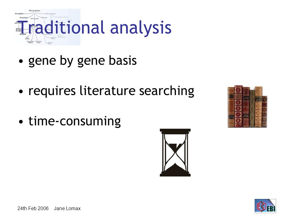 24th Feb 2006 Jane Lomax Traditional analysis gene by gene basis requires literature searching time-consuming