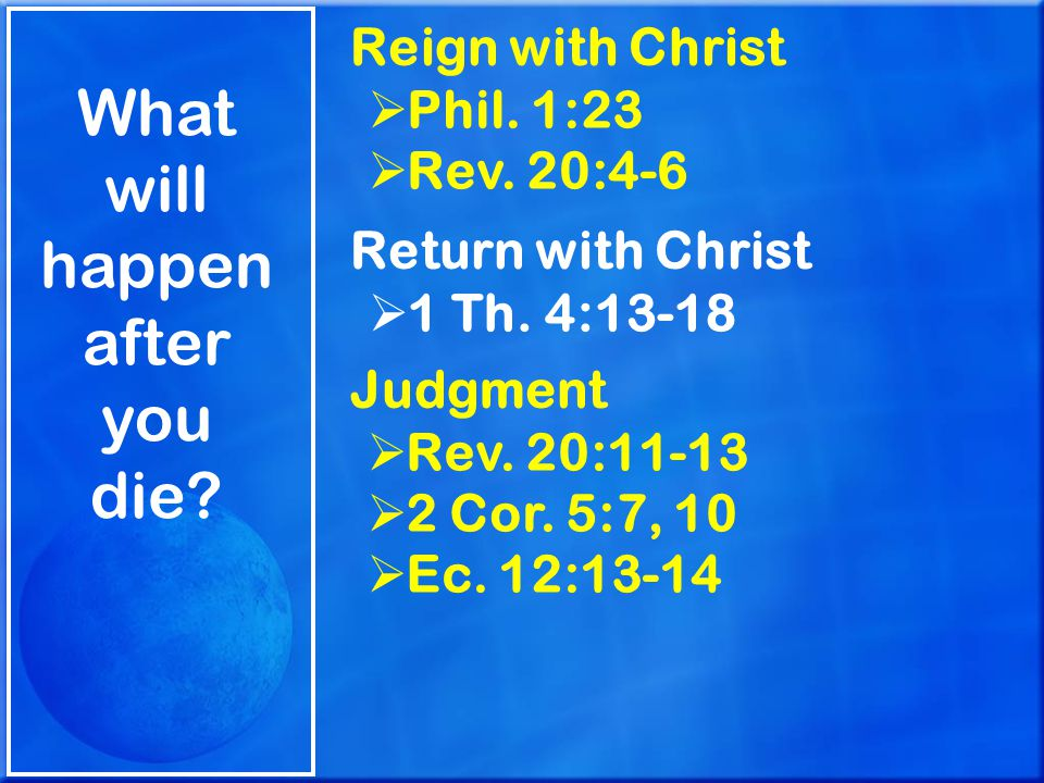 What will happen after you die.Reign with Christ  Phil.
