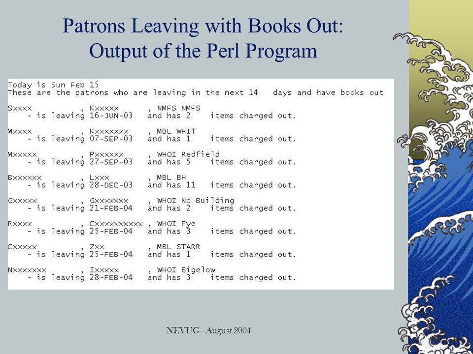 NEVUG - August 2004 Patrons Leaving with Books Out: Output of the Perl Program