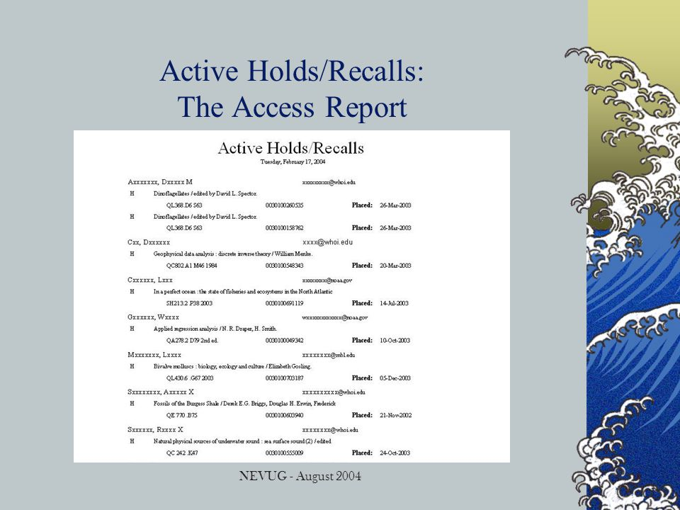 NEVUG - August 2004 Active Holds/Recalls: The Access Report