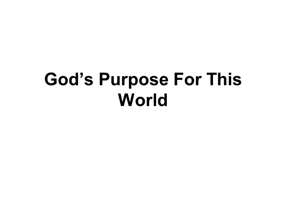 God's Purpose For This World