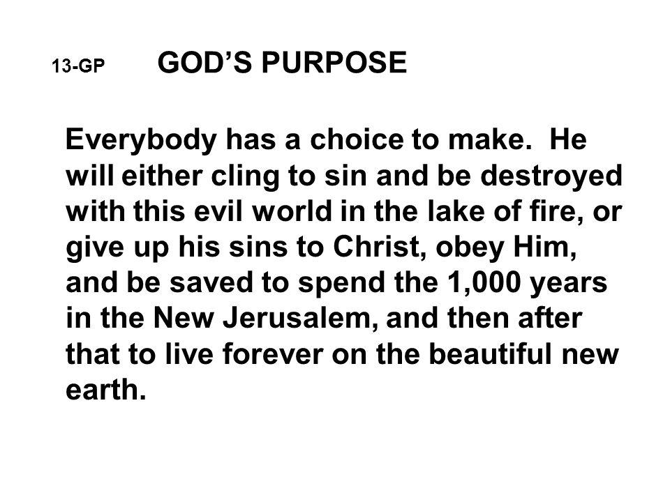 13-GP GOD'S PURPOSE Everybody has a choice to make.