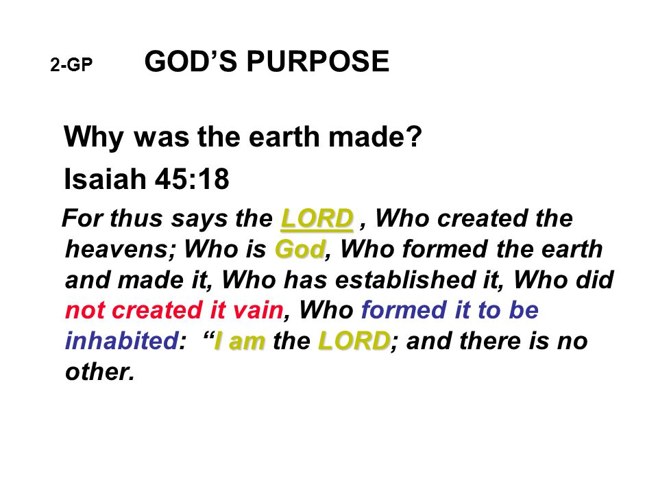 7-GP GOD'S PURPOSE How will the earth be purified.