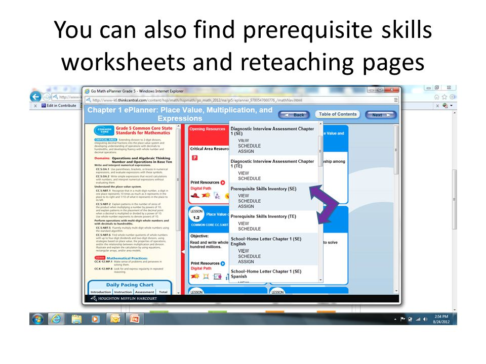 You can also find prerequisite skills worksheets and reteaching pages