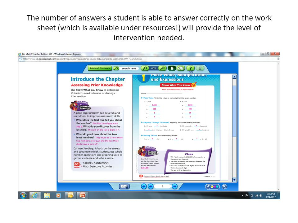 The number of answers a student is able to answer correctly on the work sheet (which is available under resources!) will provide the level of intervention needed.