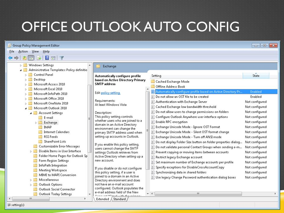 OFFICE OUTLOOK AUTO CONFIG