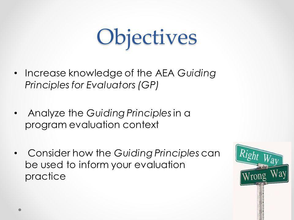 Objectives Increase knowledge of the AEA Guiding Principles for Evaluators (GP) Analyze the Guiding Principles in a program evaluation context Consider how the Guiding Principles can be used to inform your evaluation practice