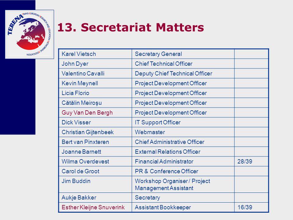 13. Secretariat Matters Karel VietschSecretary General John DyerChief Technical Officer Valentino CavalliDeputy Chief Technical Officer Kevin MeynellP