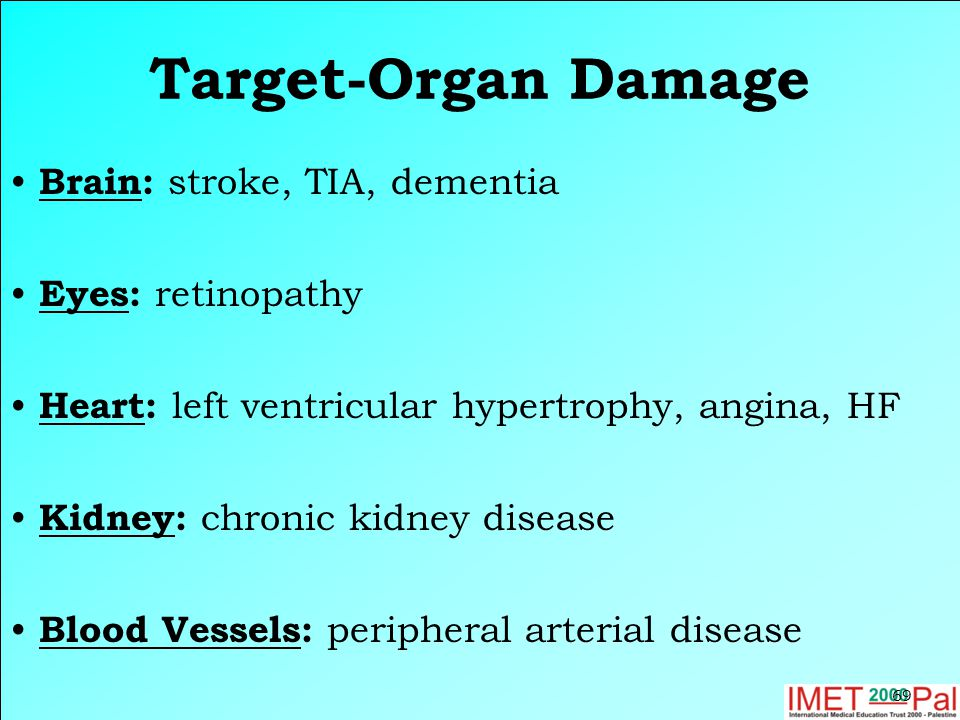Target-Organ Damage Brain: stroke, TIA, dementia Eyes: retinopathy Heart: left ventricular hypertrophy, angina, HF Kidney: chronic kidney disease Bloo