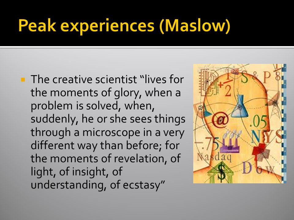  The creative scientist lives for the moments of glory, when a problem is solved, when, suddenly, he or she sees things through a microscope in a very different way than before; for the moments of revelation, of light, of insight, of understanding, of ecstasy