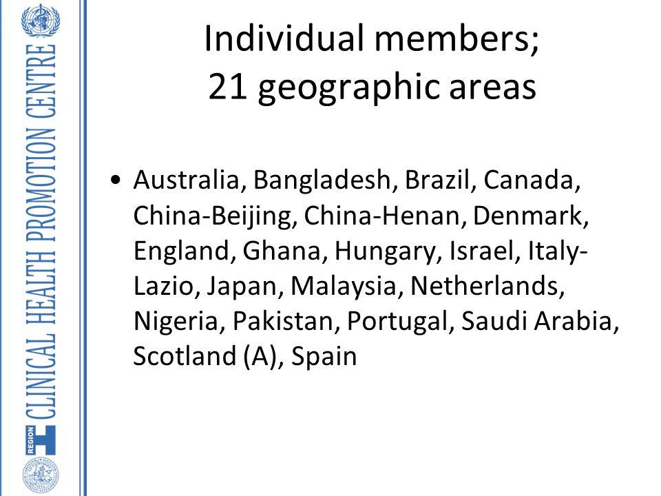 Individual members; 21 geographic areas Australia, Bangladesh, Brazil, Canada, China-Beijing, China-Henan, Denmark, England, Ghana, Hungary, Israel, Italy- Lazio, Japan, Malaysia, Netherlands, Nigeria, Pakistan, Portugal, Saudi Arabia, Scotland (A), Spain