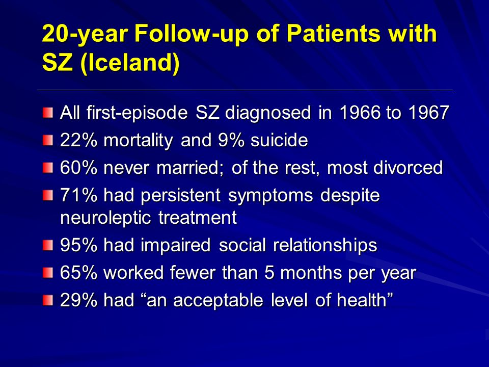 20-year Follow-up of Patients with SZ (Iceland) All first-episode SZ diagnosed in 1966 to 1967 22% mortality and 9% suicide 60% never married; of the rest, most divorced 71% had persistent symptoms despite neuroleptic treatment 95% had impaired social relationships 65% worked fewer than 5 months per year 29% had an acceptable level of health