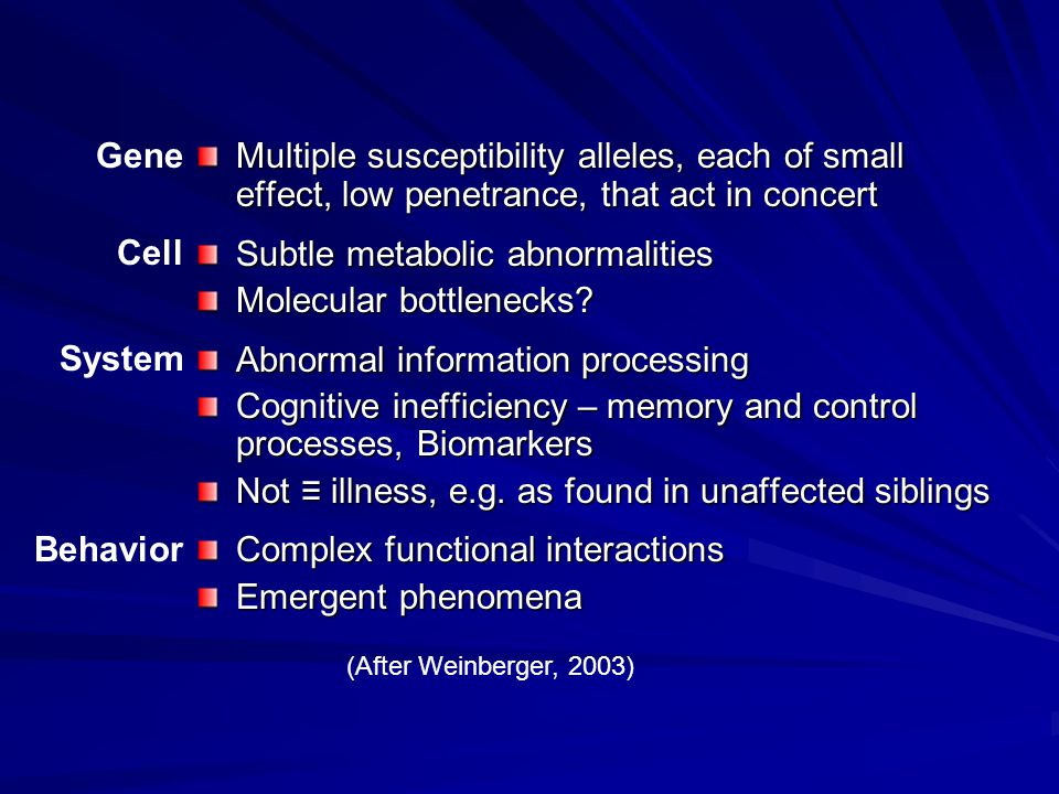 Multiple susceptibility alleles, each of small effect, low penetrance, that act in concert Subtle metabolic abnormalities Molecular bottlenecks.