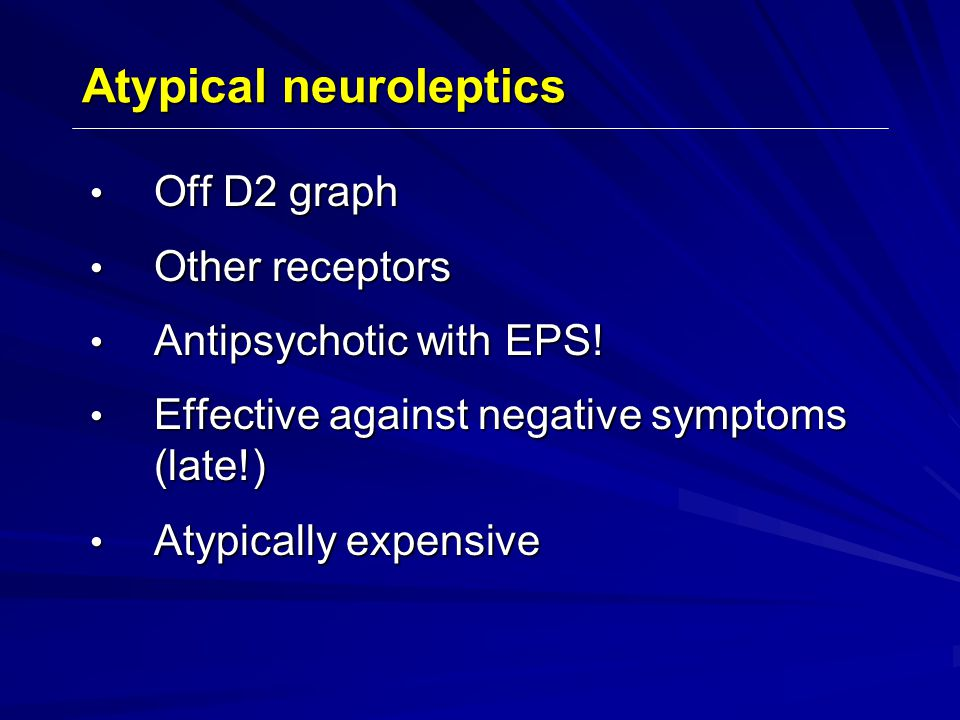 Off D2 graph Off D2 graph Other receptors Other receptors Antipsychotic with EPS.