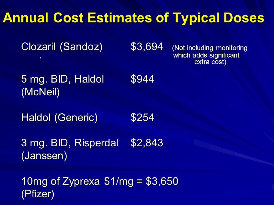 Clozaril (Sandoz)$3,694 (Not including monitoring, which adds significant extra cost) 5 mg. BID, Haldol$944 (McNeil) Haldol (Generic)$254 3 mg. BID, R