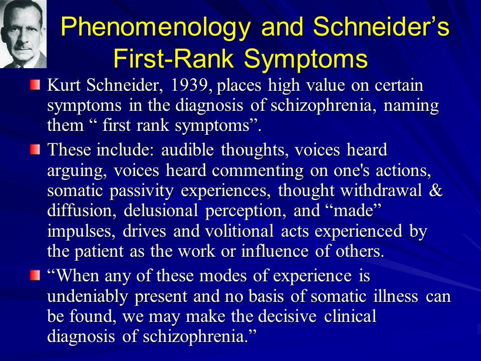 Phenomenology and Schneider's First-Rank Symptoms Phenomenology and Schneider's First-Rank Symptoms Kurt Schneider, 1939, places high value on certain