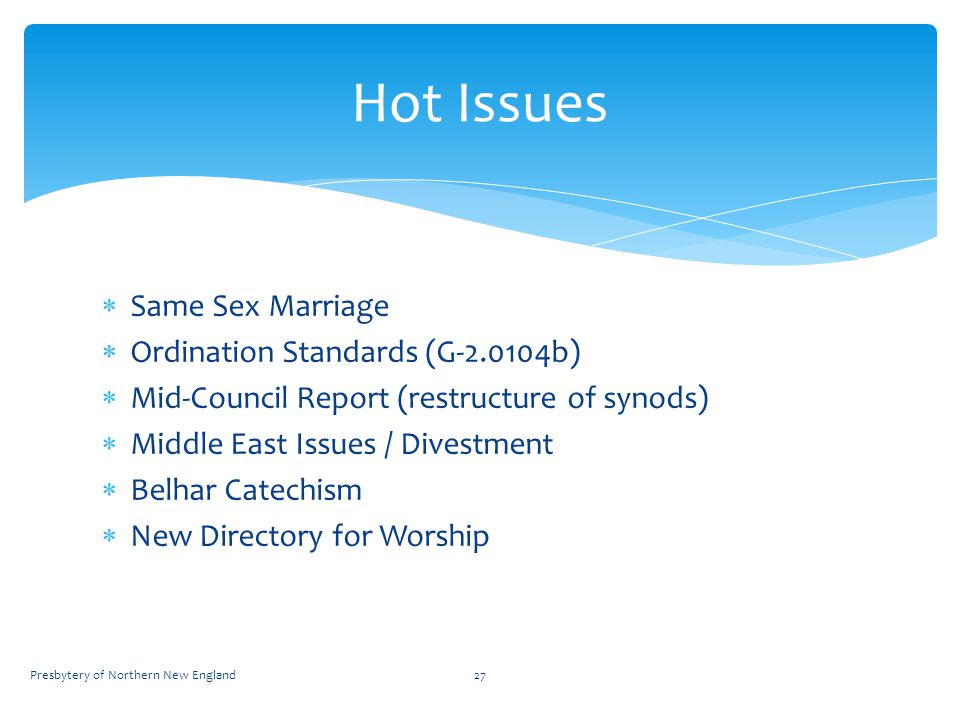  Same Sex Marriage  Ordination Standards (G-2.0104b)  Mid-Council Report (restructure of synods)  Middle East Issues / Divestment  Belhar Catechism  New Directory for Worship 27 Hot Issues Presbytery of Northern New England