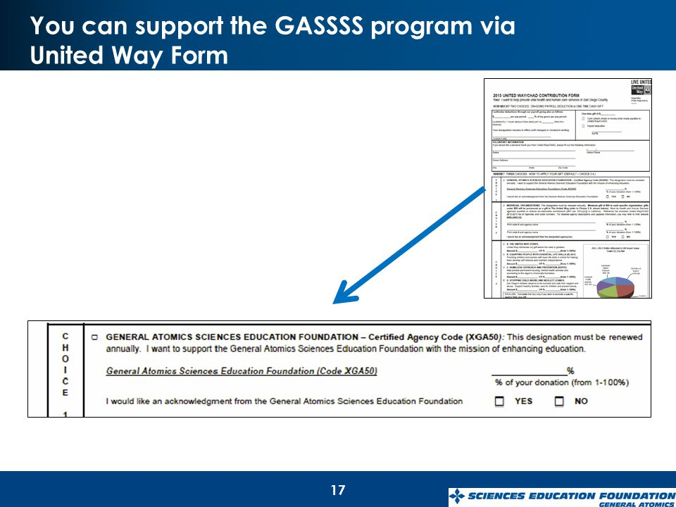 You can support the GASSSS program via United Way Form 17