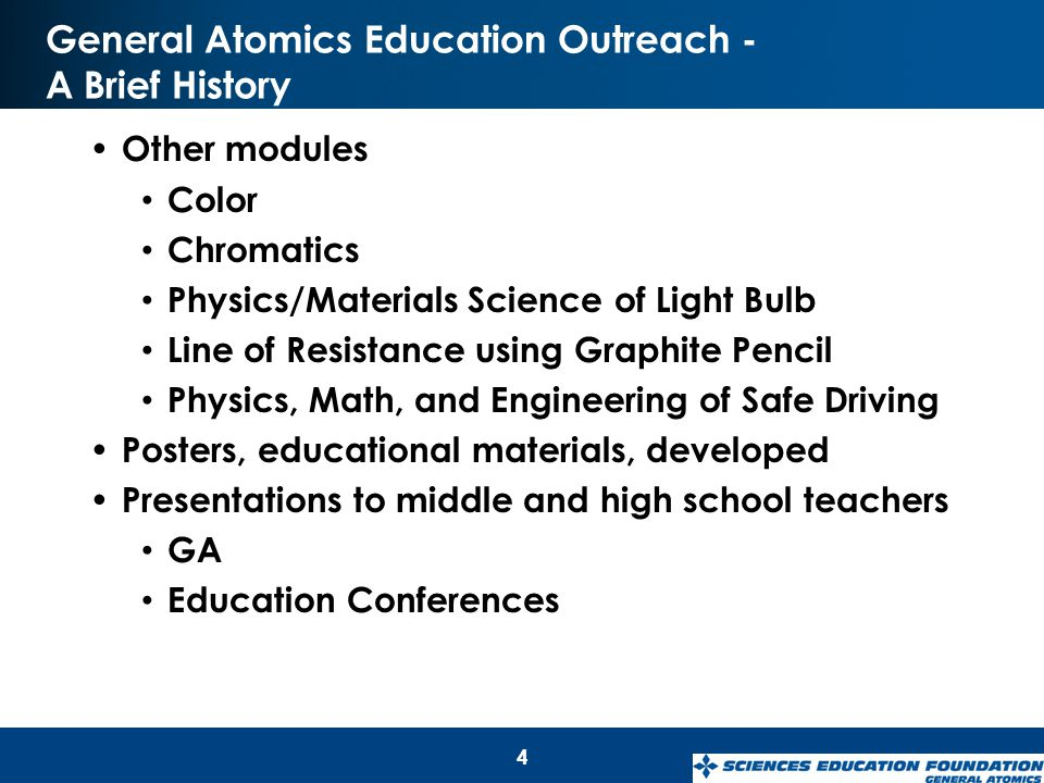 General Atomics Education Outreach - A Brief History Other modules Color Chromatics Physics/Materials Science of Light Bulb Line of Resistance using G