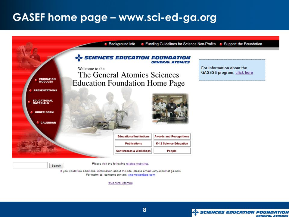GASEF home page – www.sci-ed-ga.org 8