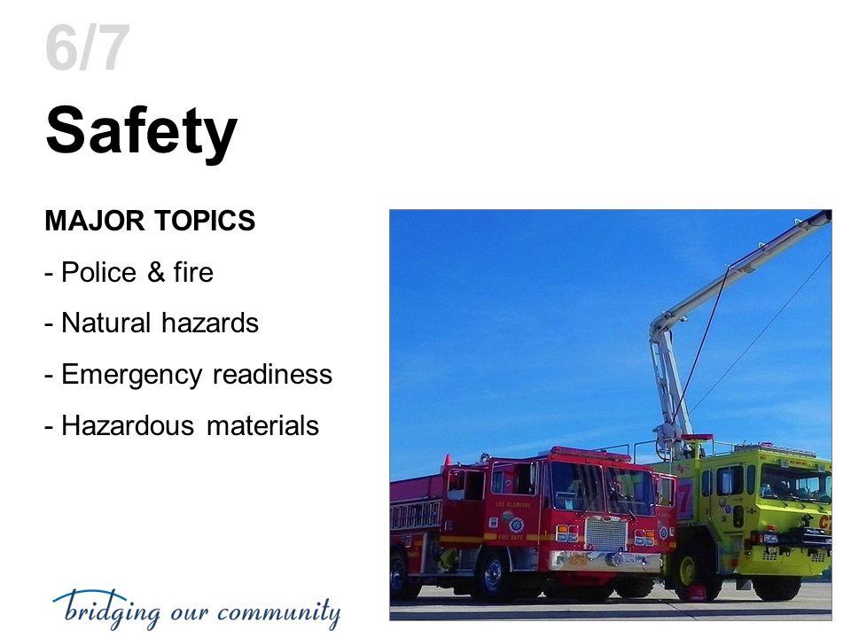 Safety MAJOR TOPICS - Police & fire - Natural hazards - Emergency readiness - Hazardous materials 6/7