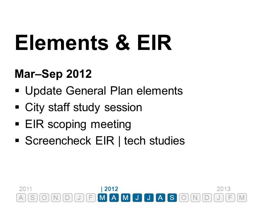 Elements & EIR Mar–Sep 2012  Update General Plan elements  City staff study session  EIR scoping meeting  Screencheck EIR | tech studies ASONDJFMA