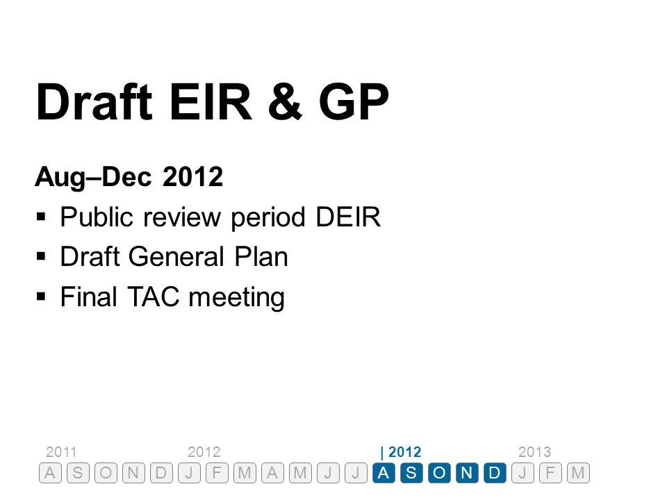 Draft EIR & GP Aug–Dec 2012  Public review period DEIR  Draft General Plan  Final TAC meeting ASONDJFMAMJJASONDJ 201120122013| 2012 FM