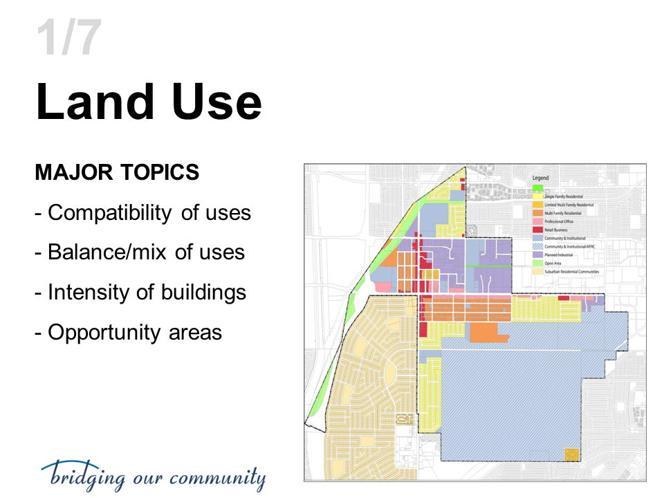 Land Use MAJOR TOPICS - Compatibility of uses - Balance/mix of uses - Intensity of buildings - Opportunity areas 1/7