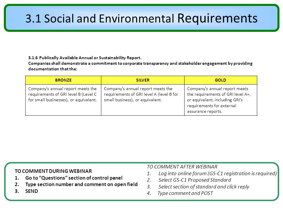 """3.1 Social and Environmental Requirements TO COMMENT DURING WEBINAR 1.Go to """"Questions"""" section of control panel 2.Type section number and comment on"""