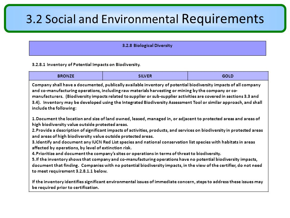 3.2 Social and Environmental Requirements 3.2.8 Biological Diversity 3.2.8.1 Inventory of Potential Impacts on Biodiversity. BRONZESILVERGOLD Company