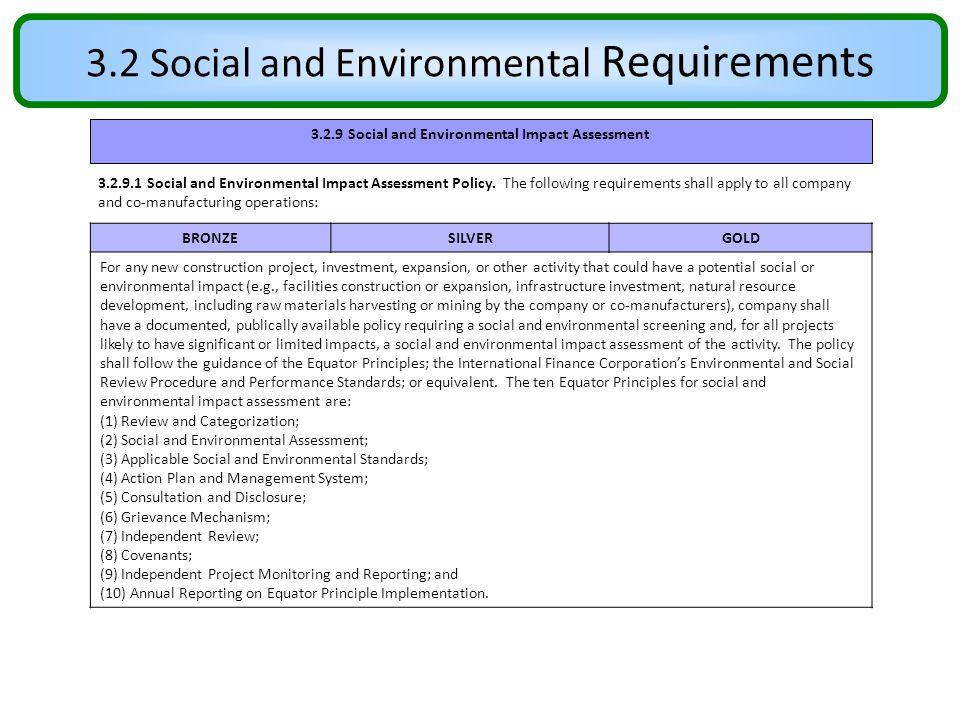 3.2 Social and Environmental Requirements 3.2.9 Social and Environmental Impact Assessment 3.2.9.1 Social and Environmental Impact Assessment Policy.