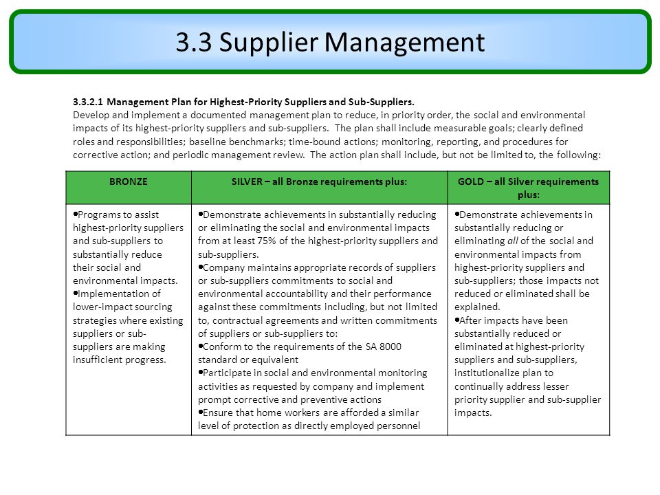 3.3 Supplier Management 3.3.2.1 Management Plan for Highest-Priority Suppliers and Sub-Suppliers. Develop and implement a documented management plan t