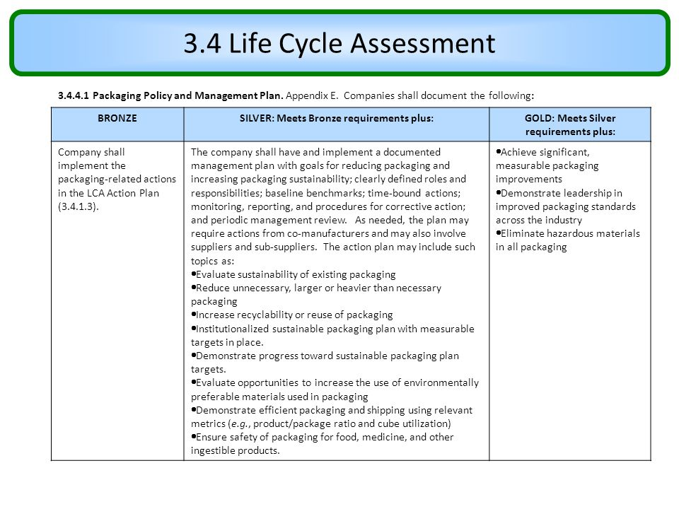 3.4 Life Cycle Assessment 3.4.4.1 Packaging Policy and Management Plan. Appendix E. Companies shall document the following: BRONZESILVER: Meets Bronze