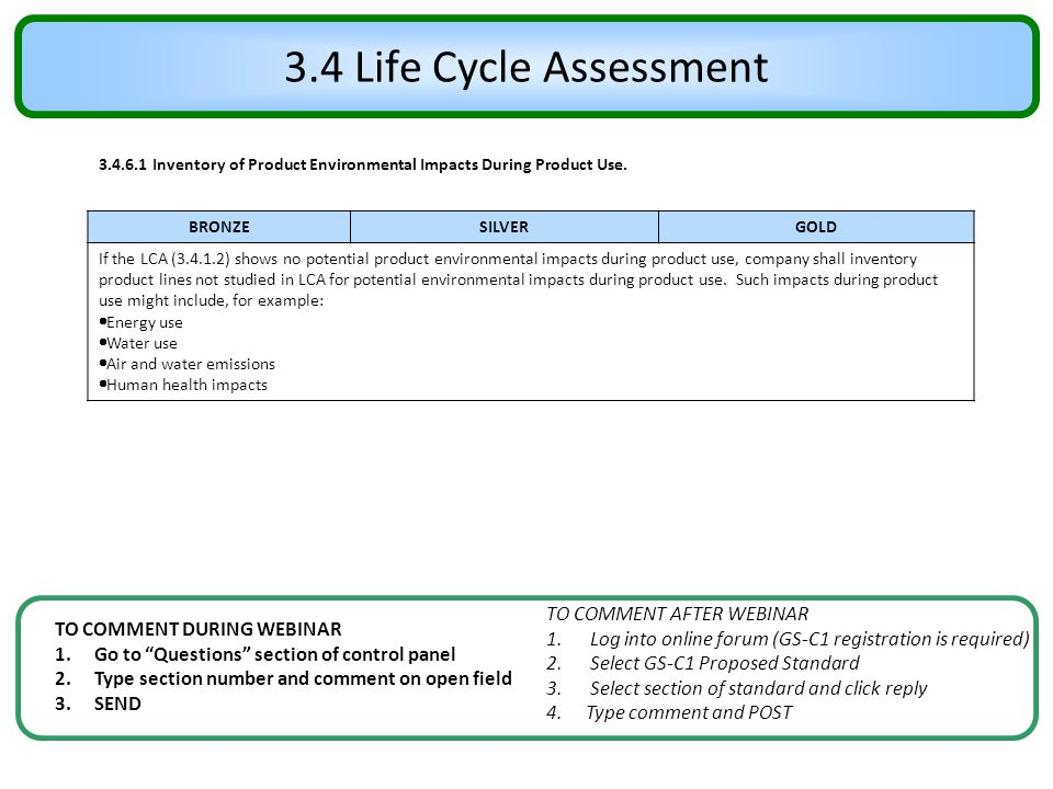 """3.4 Life Cycle Assessment TO COMMENT DURING WEBINAR 1.Go to """"Questions"""" section of control panel 2.Type section number and comment on open field 3.SEN"""